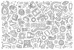 Photo doodles hand drawn sketchy vector symbols Royalty Free Stock Photos