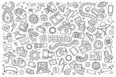 Photo doodles hand drawn sketchy vector symbols Royalty Free Stock Photos