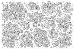 Photo doodles hand drawn sketchy vector symbols Stock Images
