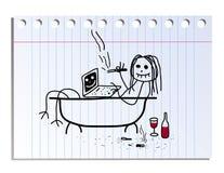 Photo drôle sur la feuille de carnet dans la ligne illustration de vecteur