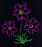 A photo of a drawing of three flowers on a tablet. Royalty Free Stock Photography