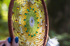 Photo of a dreamcatcher made by hand Royalty Free Stock Photography