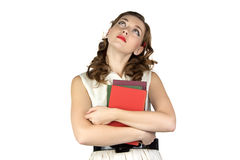 Photo of the dreaming woman with books Royalty Free Stock Photography