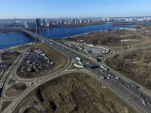 Moscow Bridge across Dnepr River,. Photo from drone at winter. February 18, 2019. Kiev,Ukraine royalty free stock photography