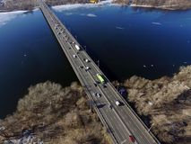 Moscow Bridge across Dnepr River,. Photo from drone at winter. February 18, 2019. Kiev,Ukraine stock images