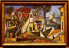 Photo du ` méditerranéen de paysage de ` original de peinture par Pablo Picasso Photographie stock libre de droits
