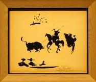 Photo du ` original de combat de Taureau de ` de peinture par Pablo Picasso Photo libre de droits