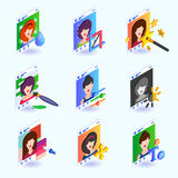 Photo editing instruments for a social network. Isometric vector illustration. Royalty Free Stock Photos