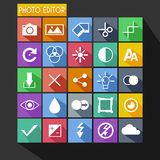 Photo Editor Flat Icon Long Shadow Stock Photos
