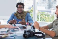 Photo editors brainstorming Stock Photo