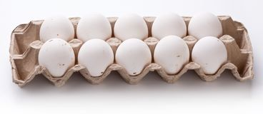 Photo of eggs package. Stock Photo