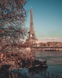 Autumn for Eiffel Tower from bridge , Tour. Eiffel, Paris , France 2018 royalty free stock photo