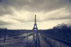 Photo of Eiffel Tower with dramatic sky, Paris, France Stock Image