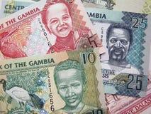 Money of Gambia. Photo elements Gambia banknotes of 5, 10, 25 Dalasi royalty free stock images