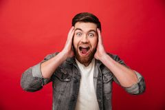 Photo of emotional guy 30s wearing beard in jeans jacket screaming and grabbing head in delight, isolated over red background. Photo of emotional guy 30s wearing stock photos