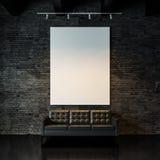 Photo of empty  canvas on the black bricks wall Stock Photo