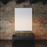 Photo of empty  canvas on the bricks wall Royalty Free Stock Images
