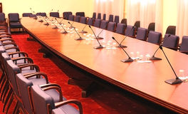 Photo empty conference room. Empty conference room with microphones Stock Photography