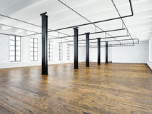 Photo of empty expo interior in modern building. Open space loft. Empty white walls. Wood floor, black beams,big windows Stock Photography
