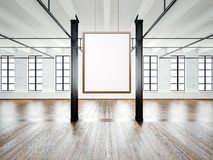 Photo of empty interior in modern building. Open space loft. Empty white canvas hanging on the wood frame. Wood floor. Photo of empty interior in modern loft stock illustration