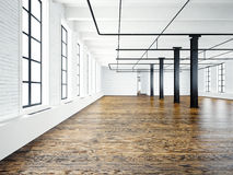 Photo of empty interior in modern building.Open space loft. Empty white walls. Wood floor, black beams,big windows Royalty Free Stock Photos