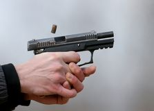 Photo en gros plan d'un tir de pistolet Photo stock