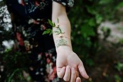 Photo en gros plan d'une fleur attachée du ruban adhésif à un bras femelle image stock