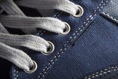 Photo en gros plan de fond de texture d'espadrilles de jeans Image libre de droits