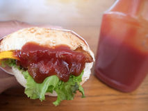 Photo en gros plan de l'hamburger fait à la maison avec du boeuf, l'oignon, la tomate, la laitue, le fromage et les épices Plan r photos libres de droits