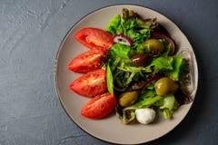 Photo en gros plan de salade fraîche de vitamine de ressort Photographie stock libre de droits