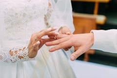 Photo en gros plan des mains de la jeune mariée mettant l'anneau de mariage sur le doigt du marié Photographie stock libre de droits