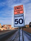 Photo of Ends Playground Zone Maximum 50 Street Sign royalty free stock photography
