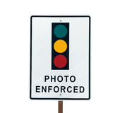 Photo Enforced Traffic Light Sign. Photo Enforced traffic light warning sign in sunny Beverly Hills California Royalty Free Stock Photography