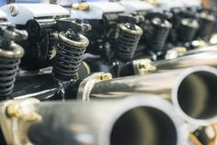 Photo of engine part. Part of the engine of a car or airplane. Industrial background stock image