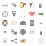 Photo equipment end editing flat icons set Stock Photography
