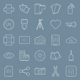 Photo equipment end editing thin lines icons set Royalty Free Stock Images