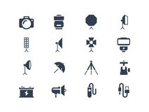 Photo equipment icons. Isolated on white royalty free illustration