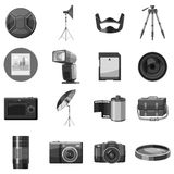 Photo equipment icons set, gray monochrome style. Photo equipment icons set. Gray monochrome illustration of 16 photo equipment vector icons for web Stock Image