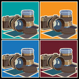 Photo equipment. Stylized vector illustration on the theme of photography and photographic equipment. The camera and lenses Stock Image