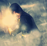 Photo of evil sorcerer in the smoke. Screaming Stock Images