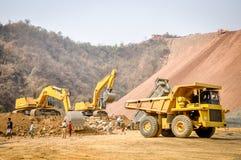 Photo of excavator in Hpa Kant jade mine, Myanmar Stock Image