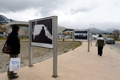 Photo exhibition about the Falklands war in the area of Malvinas Islands in Ushuaia. USHUAIA, ARGENTINA - NOVEMBER 17,2014: Photo exhibition about the Falklands Stock Image