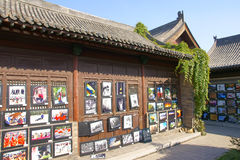 Photo exhibition in temple Royalty Free Stock Images