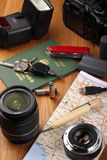 Photo Expedition. Planing a photo expedition. Things needed on the desktop table Royalty Free Stock Images