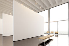 Photo exposition modern gallery,open space.Big white empty canvas hanging contemporary art museum.Interior loft style Royalty Free Stock Images