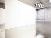 Photo exposition modern gallery,open space. Blank white empty canvas contemporary industrial place.Simply interior loft. Style with concrete floor,bricks walls Royalty Free Stock Images