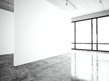 Photo exposition modern gallery,open space. Blank white empty canvas contemporary industrial place.Simply interior loft. Style with concrete floor,panoramic vector illustration