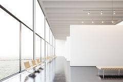 Photo exposition modern gallery,open space.White empty canvas hanging contemporary art museum.Interior loft style with Royalty Free Stock Photos