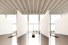 Photo exposition space modern gallery.Blank white empty canvas hanging contemporary art museum. Interior loft style with Royalty Free Stock Photography
