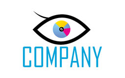 Photo Eye logo. A logo with a cmyk colored eye and a photo lens as the eye iris. Perfect for photo stores Stock Photography